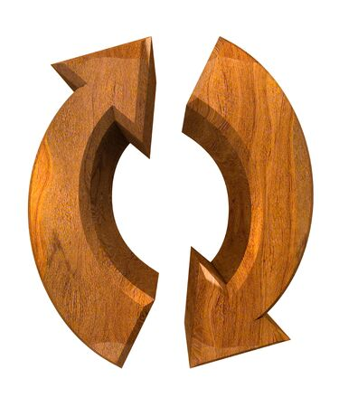arrows symbol in wood - 3D made photo