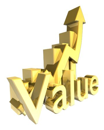 attainment: Statistics graphic in gold - 3d made