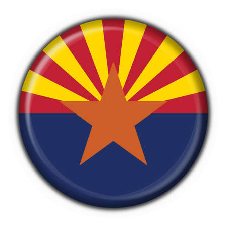 state of arizona: Arizona (USA State) button flag round shape - 3d made Stock Photo
