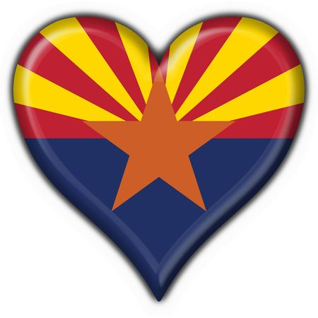 Arizona (USA State) button flag heart shape - 3d made