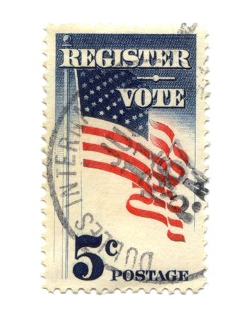 Old postage stamp from USA five cent - Registered Vote photo
