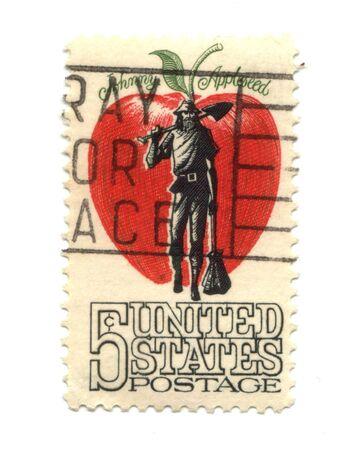 five cents: Old postage stamp from USA five cents - Johnny Applessed