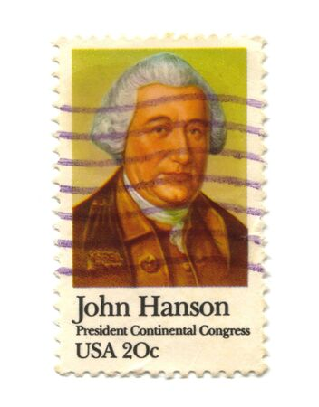 old postage stamp from USA 20 cent - John Hanson Stock Photo - 7172618