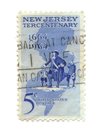 old postage stamp from USA five cent - New Jersey Tercentenary photo