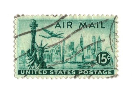sello postal: Antiguo sello postal de los Estados Unidos 15 centavos - Nueva York  Foto de archivo