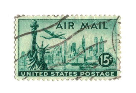 postage stamp: Old postage stamp from USA 15 cents - New York Stock Photo
