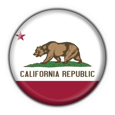 los: California (USA State) button flag round shape - 3d made