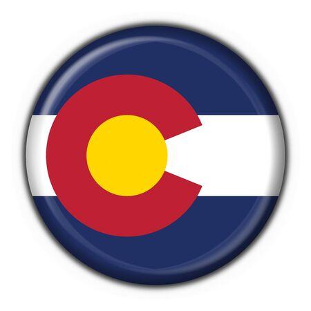 colorado flag: Colorado (USA State) button flag round shape - 3d made