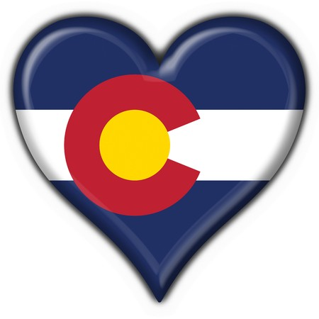 us state flag: Colorado (USA State) button flag heart shape - 3d made Stock Photo