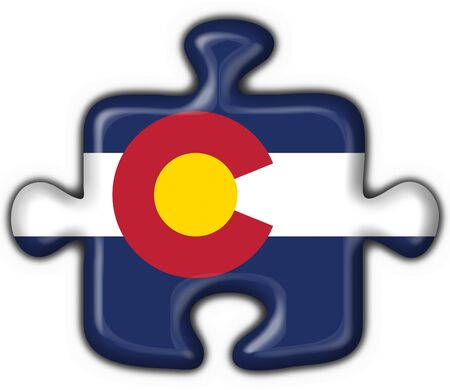 Colorado (USA State) button flag puzzle shape - 3d made photo