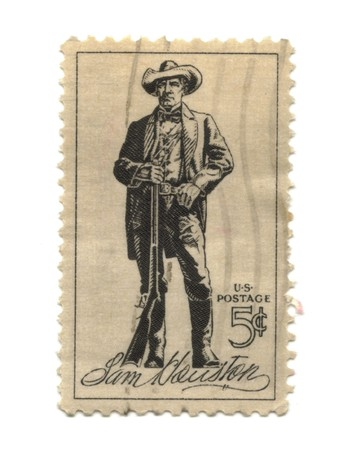 cent: old postage stamp from USA five cent - Sam Houston