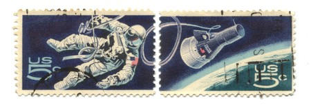 Two old postage stamps from USA 5 cent - Space Exploration photo