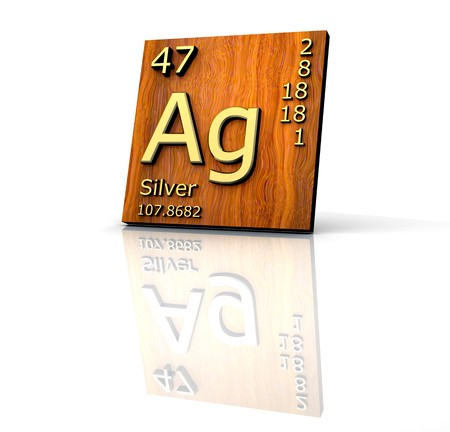 ag: Silver form Periodic Table of Elements - wood board