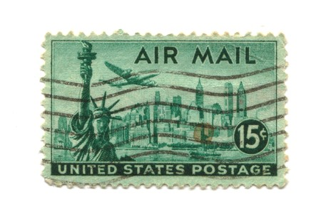 Old postage stamp from USA 15 cents - NY Liberty Statue photo