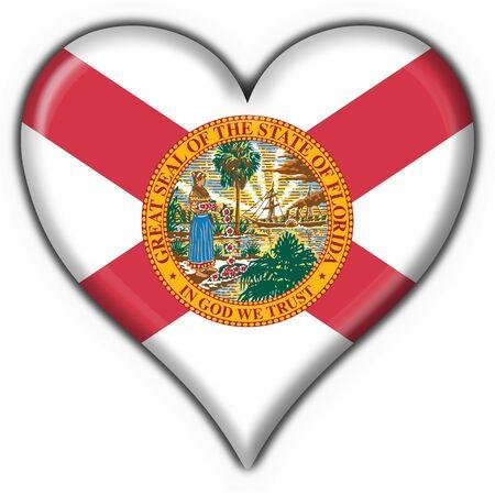 Florida (USA State) button flag heart shape - 3d made photo