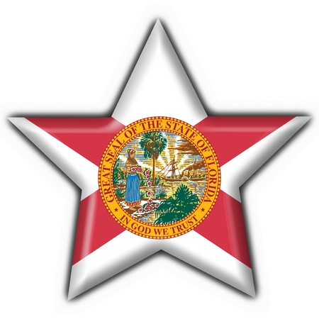 Florida (USA State) button flag star shape - 3d made Stock Photo - 7238203
