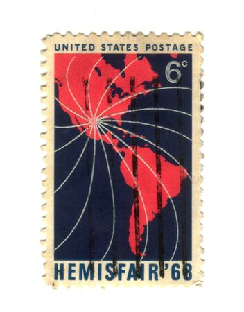 reb: Old postage stamp from USA with america - Hemisfair 68 Stock Photo