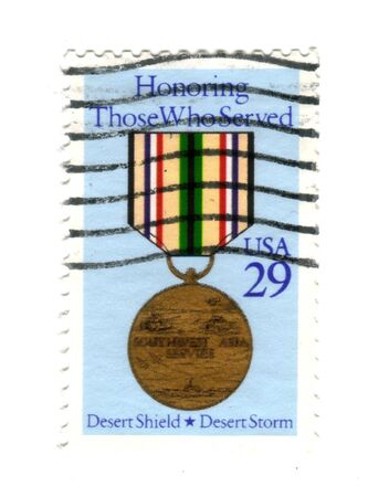 postman of the desert: Postage stamp from USA 29 cents - Honoring Those Who Served - Desert Shield - Desert Storm Stock Photo