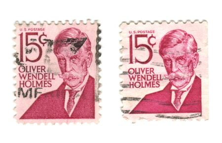 US postage stamp on white background 15c - Oliver Wendell Holmes Stock Photo - 7238227