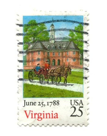 five cents: old postage stamp from USA 25 cent - Virginia