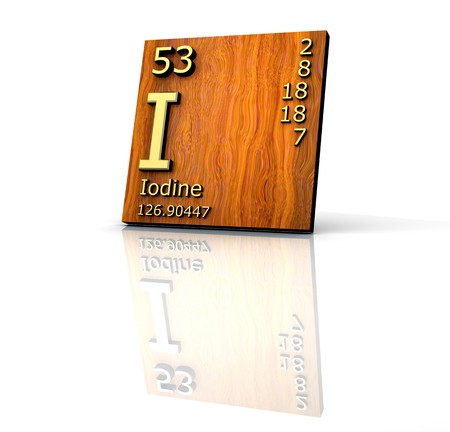 iodine: Iodine form Periodic Table of Elements - wood board - 3d made