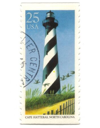 Old postage stamp from USA with Lighthouses - Cape Hatteras, North Carolina Stock Photo - 7247242