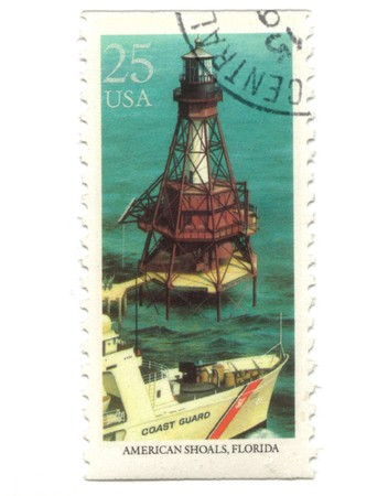 Old postage stamp from USA with Lighthouses - American Shoals, Florida photo