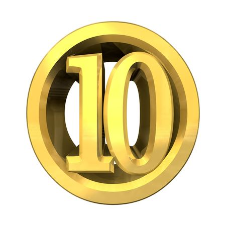 3d made - number 10 in gold  photo