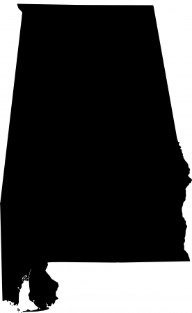 alabama: black  map of Alabama (USA State)