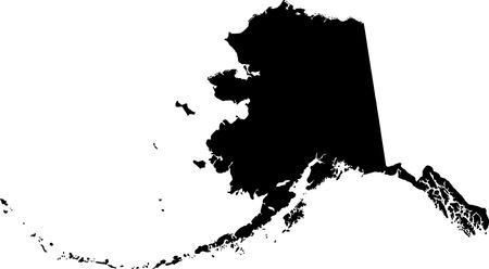 black  map of Alaska Illustration