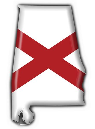 alabama state: Alabama (USA State) button flag map shape - 3d made