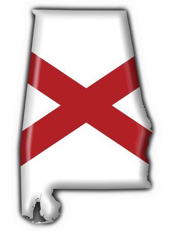 Alabama (USA State) button flag map shape - 3d made