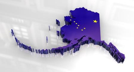 3d made - Flag map og Alaska photo