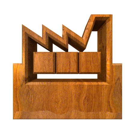 manufacturer: Manufacturer Building Icon on a White Background - 3d made in wood
