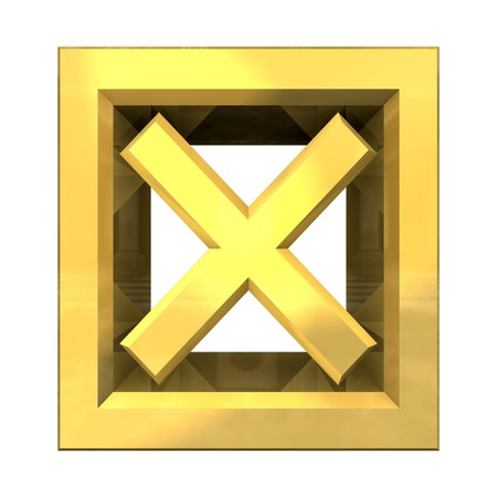 ko tick in gold isolated - 3D made Stock Photo - 7290957
