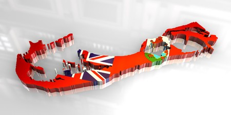 3d made - flag map of bermuda  photo