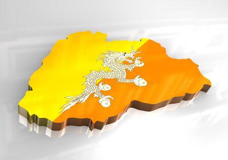 himalaya: 3d made - flag map of bhutan
