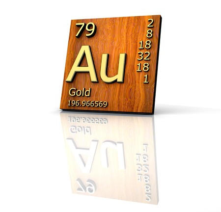 periodic: Gold form Periodic Table of Elements - wood board - 3d made
