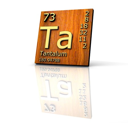 Tantalum form Periodic Table of Elements - wood board - 3d made Stock Photo - 7290998