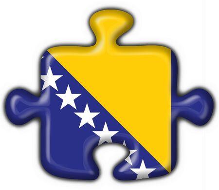 bosnia button flag puzzle shape - 3d made photo
