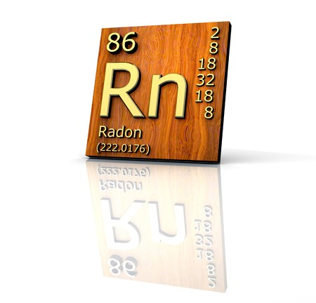 bismuth: Radon form Periodic Table of Elements - wood board - 3d made Stock Photo