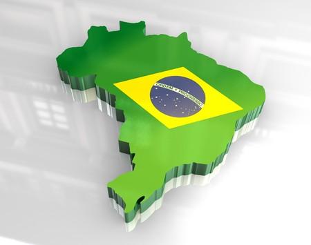 3D gemacht - Flagge Karte von Brasilien  Standard-Bild - 7481479
