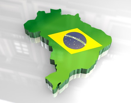 3d made - flag map of brazil Stock Photo