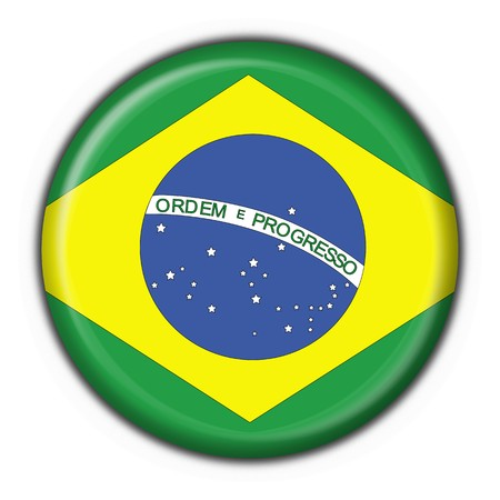 brazilian button flag round shape - 3d made photo