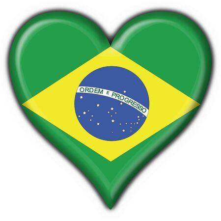 brazilian button flag heart shape - 3d made Stock Photo - 7481474
