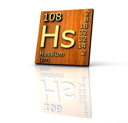 Hassium Pedic Table of Elements - wood board - 3d made Stock Photo - 7481492