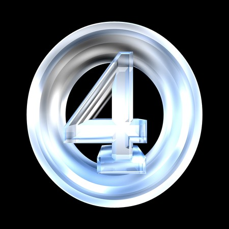four in one: 3d made - number 4 in glass Stock Photo