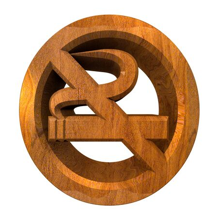No smoking icon symbol in wood (3D made)  photo