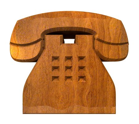 phone symbol in wood - 3D made Stock Photo - 7545283