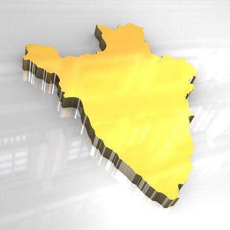 3d made - golden map of burundi photo